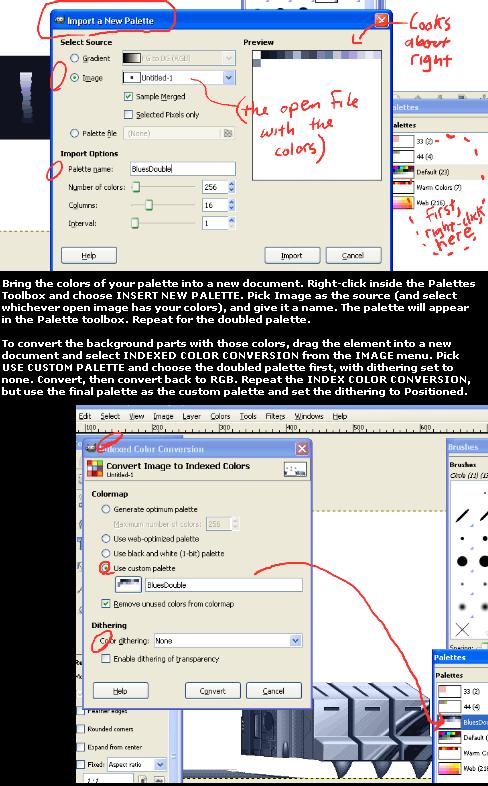 pixel palettes with GIMP