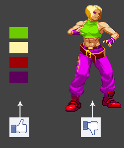 Left: perfectly fine colors, but Right: put together and shaded on a sprite and *gak*