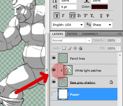 The order of your layers: note the masking shortcut for the white lighting layer above the gray layer