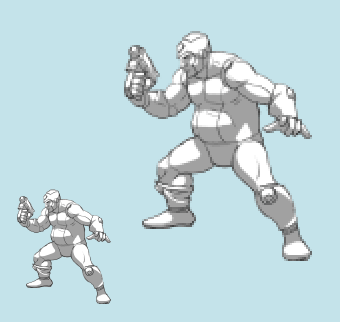 Resize your sprite to the desired size. Don't worry about the blurriness
