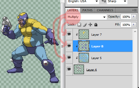 Adding pre-shaded colors to the sprite is now as simple as filling in the blanks
