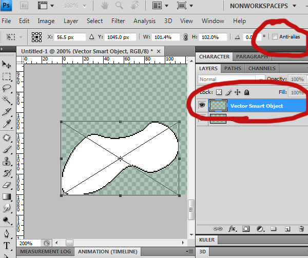 Dragging the Illustrator shape into Photoshop